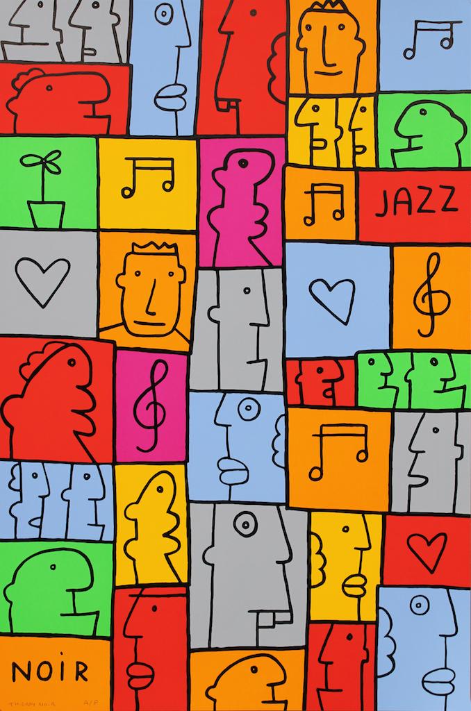 "<a href=""https://howardgriffinprints.com/artists/thierry-noir"">Thierry Noir</a> / <a href=""https://howardgriffinprints.com/print/thierry-noir/jazz/""><em>Jazz</em></a>"